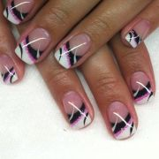 pink black and white tips nail