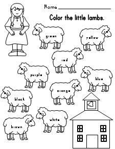 Mary Had A Little Lamb Color Words Sheet Kindergarten