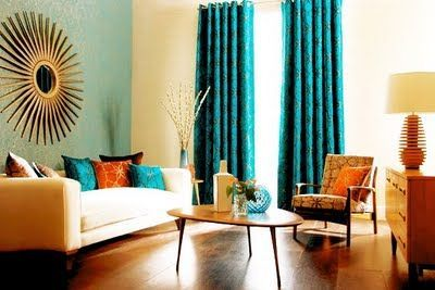 Teal And Orange Bedrooms Retro Living Room In Teal And