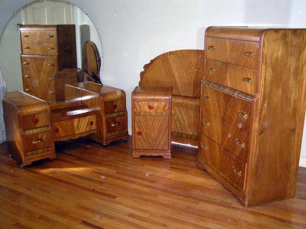 Waterfall Style Furnaiture Bedroom Set 1930 40 L A Period Furniture C Lot