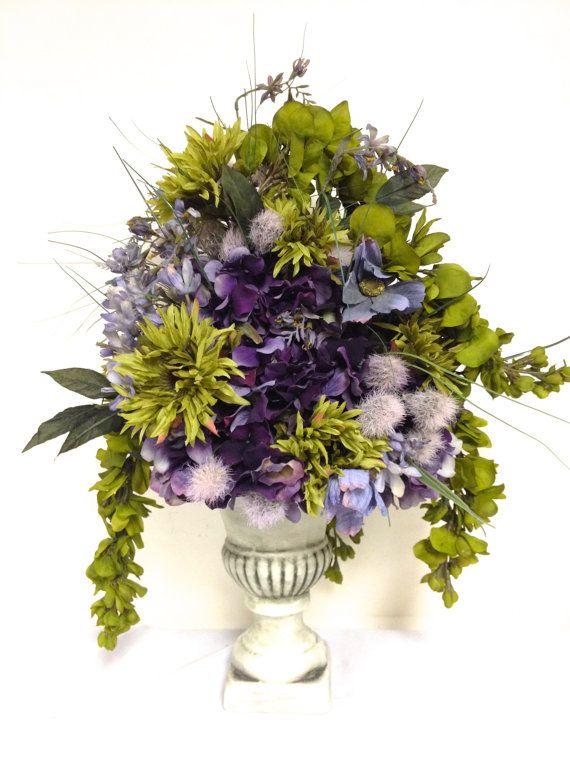 Tuscan Style Silk Floral Mix Arrangement Sage Green Plum Purple by SandyNewhartDesigns  Tuscan