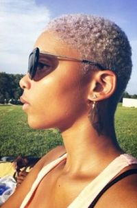 Natural hair. Big chop. Twa. Platinum Blonde Color. Curls ...