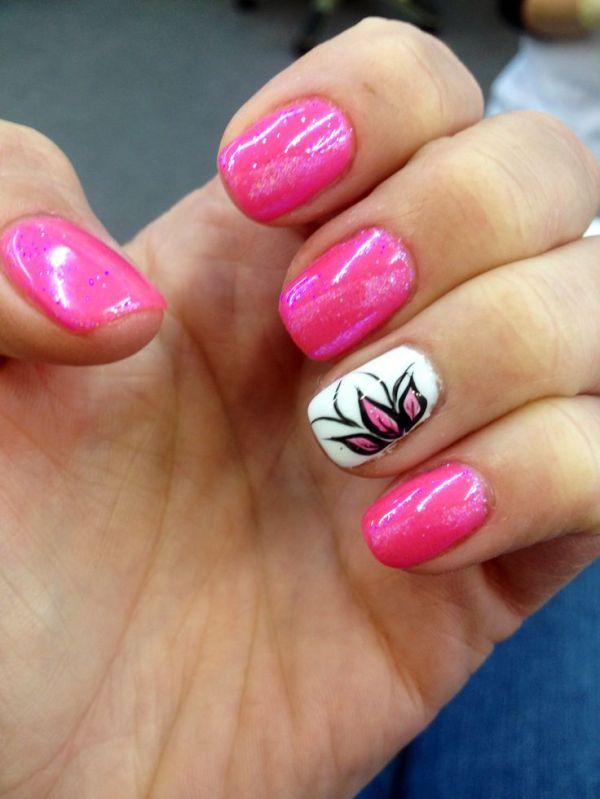 25 bästa idéerna om Pink shellac nails på Pinterest