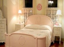 Pink vintage room with full size bed mildly distressed ...