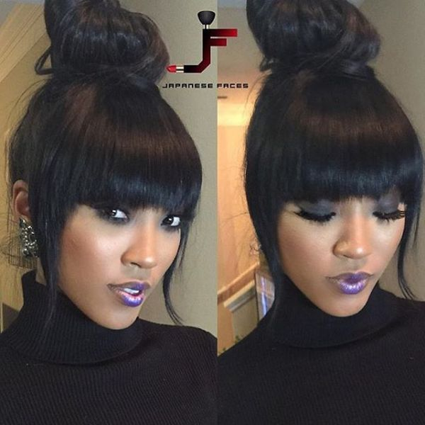 Bun And Bangs Hairstyle With Weave Avalonit Net