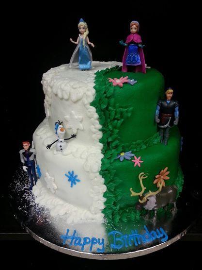 Frozen Cake Half ElsaHalf Anna Two tier Cake  Disney