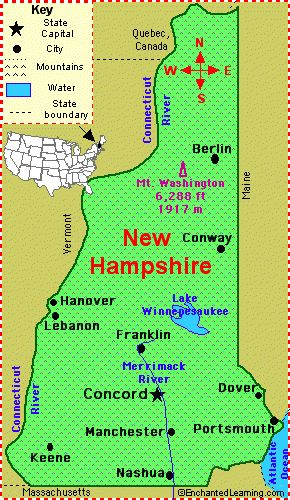 New Hampshire Facts Map and State Symbols