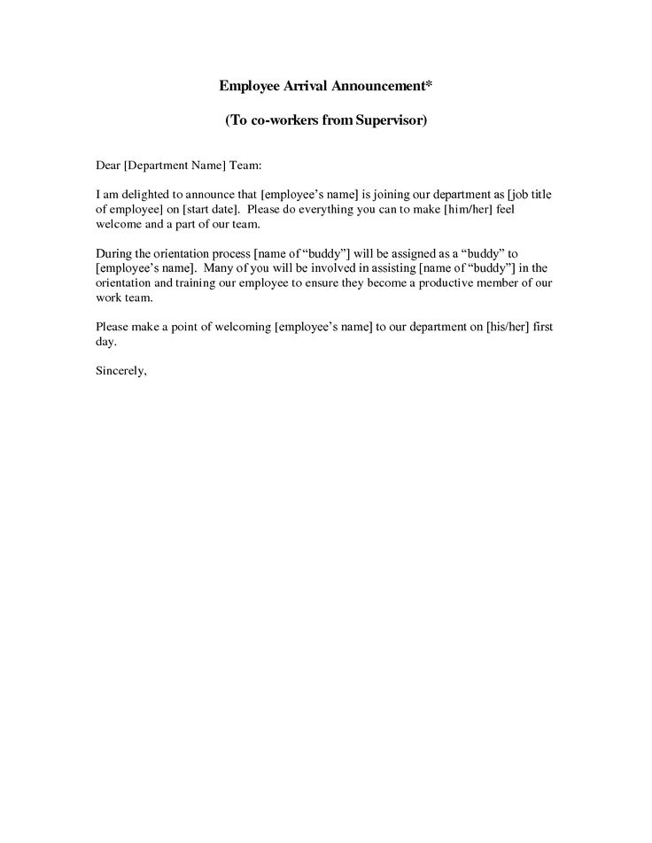 sample new employee announcement letters