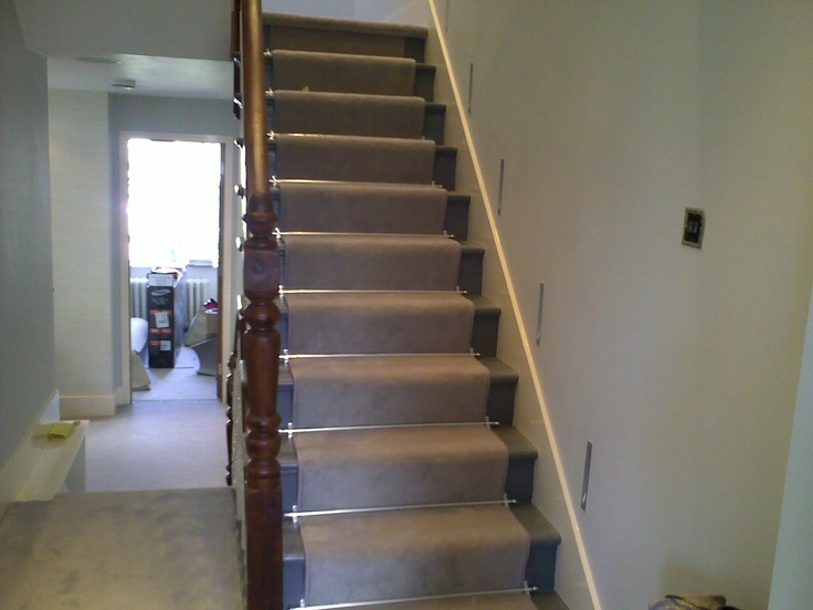 grey carpet chrome stair rods inset wall lights  London