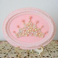 Pearl princess crown art - Mosaic wall art - Pastel pink ...