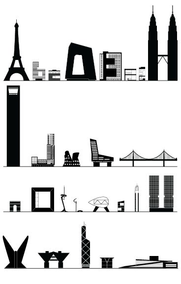 Shinya Iwaki's architectural alphabet, with scale drawings