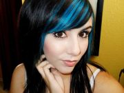 black and aqua highlights in bangs