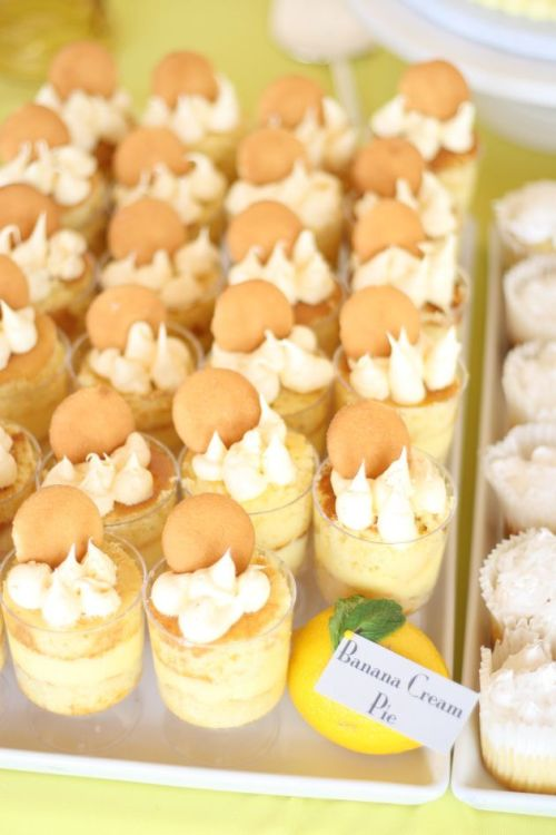 Julianne's Yellow Themed Bridal Shower ~ banana pudding shooters