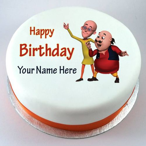Shin Chan Cute Wallpapers Happy Birthday Motu Patlu Cute Kids Cake With Your Nam