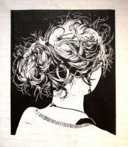 """""""knotje 3"""" - hair bun. linocut"""