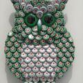 Bottle cap green heineken beer bottlecap metal owl wall art handmade