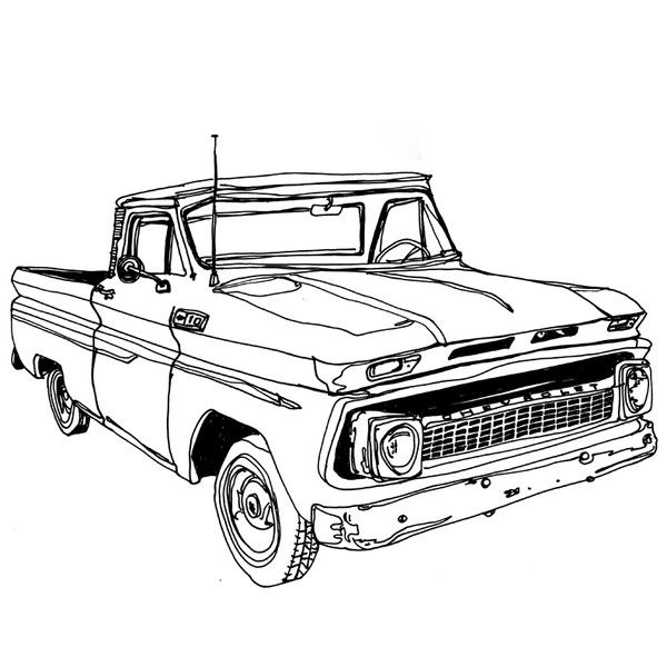 Classic Chevy Car Coloring Pages Sketch Coloring Page