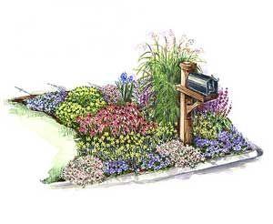 mailbox garden ornamental grasses