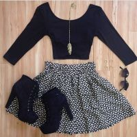 Crop top + skater skirt + heeled booties + sunnies # ...