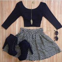 Crop top + skater skirt + heeled booties + sunnies # ...