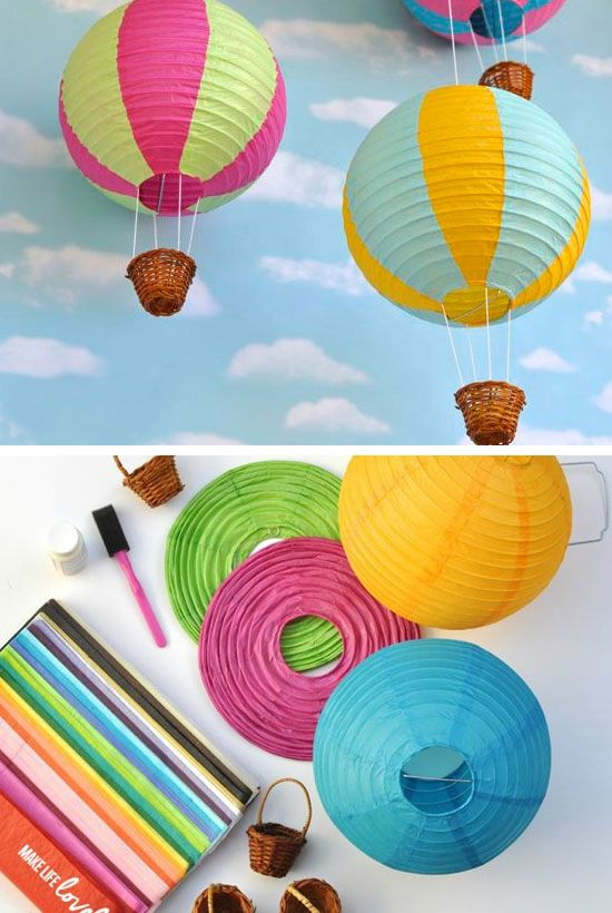 Paper Lantern Hot Air Balloons   Click for 25 DIY Nursery Decor Ideas   DIY Decorating Ideas for Toddlers Boys Room