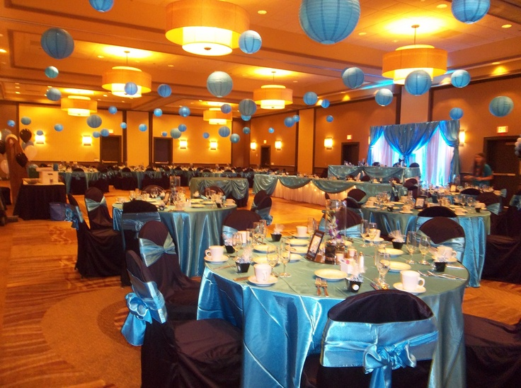 Malibu Blue Wedding With Black Chair Covers And Lighted