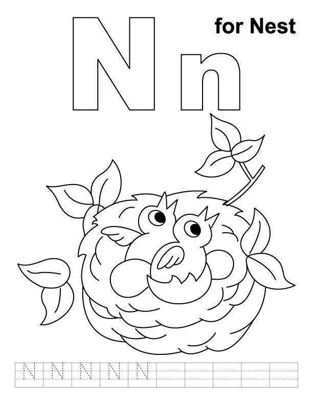 N for nest coloring page with handwriting practice