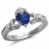 A Traditional Celtic Irish 1.8CT Heart Cut Blue Sapphire ...