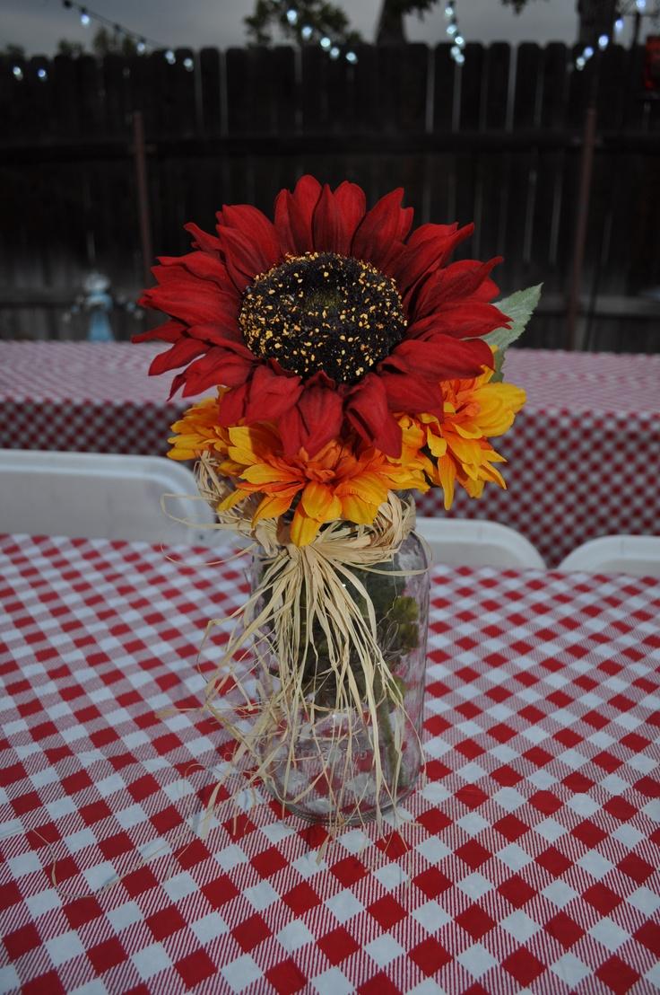 I Do BBQ Mason Jar Centerpiece Sunflower  Saw it Pinned it Did it  Pinterest  Yellow