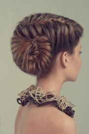 unusual braided updo #hairstyles