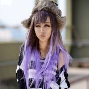 brown hair with pastel purple tipped