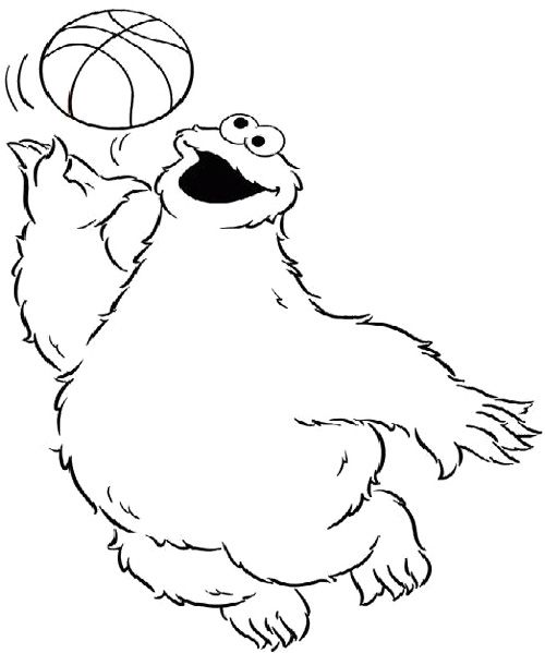 Cookie Monster Playing Basketball Coloring Page Peter39s