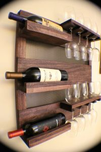Rustic Dark Cherry Stained Wall Mounted Wine Rack with