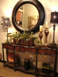 British Colonial decor, entry table with classic round ...