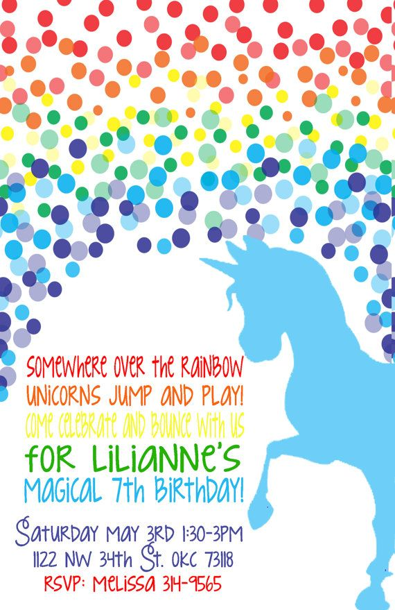 Rainbow Unicorn Birthday Invitation Invitation Wording