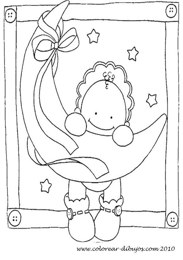 dibujos para colorear de bebes bebe colgado de la luna