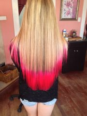 atomic pink tips with blonde hair