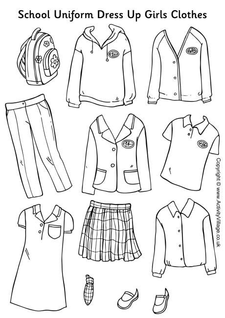 Here's a set of girls' school uniform to colour, cut out