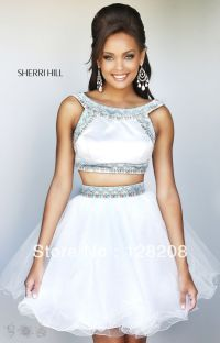 2 piece prom dresses 2014 | 2014 fashion white two piece ...