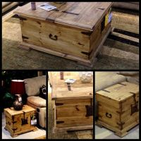 Antique trunk style coffee table and end tables ...
