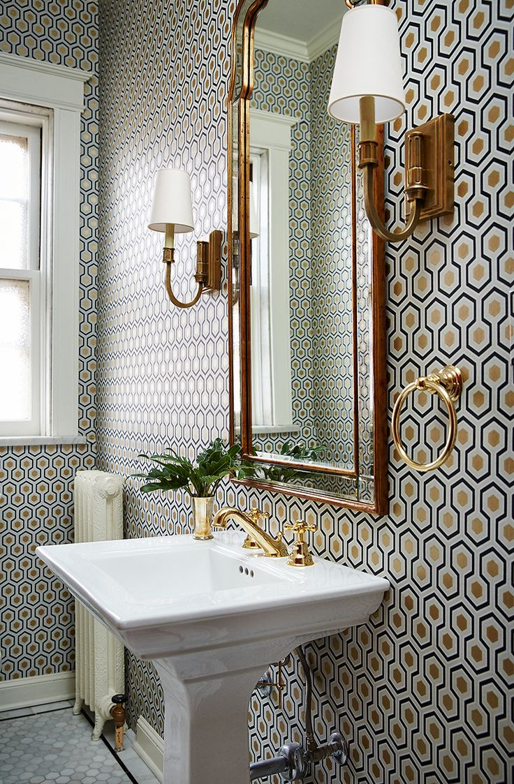 small bathroom with a lot of pattern on wall, wallpaper