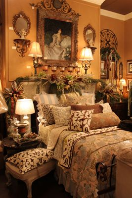 Beautiful Bedroom Love That The Dark Wall Color And Neutral Bedding Along With Victorian Decortuscan Bedroomwarm