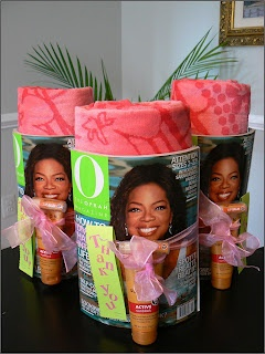 Wrap a towel, magazine and tanning lotion together with a ribbon for a Yeah, its
