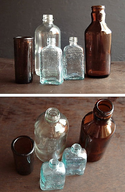 antique rustic glass bottles  wedding ceremonyreception