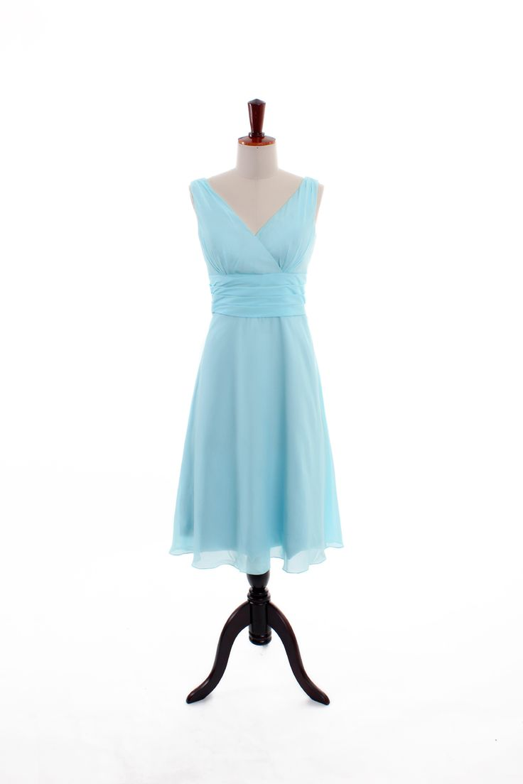 V-neck A-line with ruffle embellishment bridesmaid dress