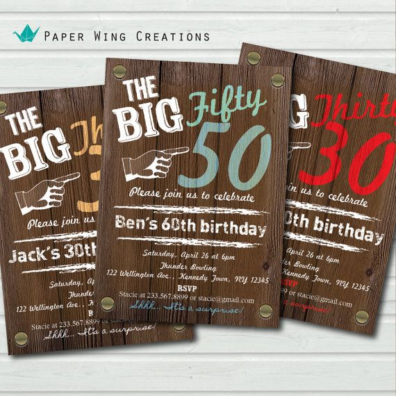 Man 50th Birthday Invitation Rustic Wood Adult Birthday