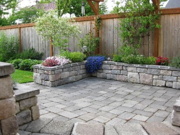 stone patio with planter