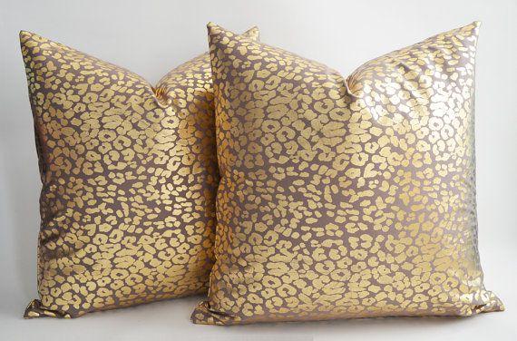 SET of 2  leopard decorative pillow  gold pillow