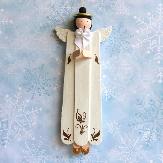 SingingPraying Angel Christmas Ornament Made From Popsicle Sticks  gift ideas  Pinterest