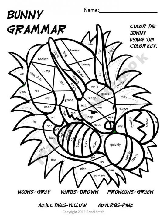 Parts of Speech coloring page (nouns, verbs, adjectives